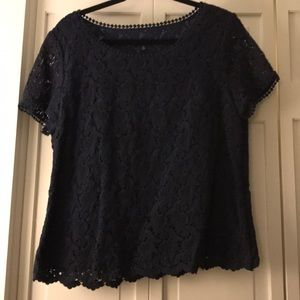 Navy blue lace top with lining